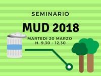 MUD 2018 - Seminario sulle modalità di compilazione e presentazione del Modello Unico di Dichiarazione Ambientale
