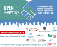 Open innovation: un ecosistema per rendere le aziende più competitive grazie alla contaminazione con le start-up. Camera di commercio di Parma, 13 febbraio 2019, sala Aurea, ore 16 - 19