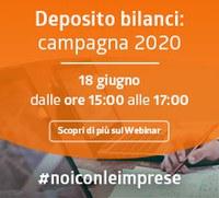 Deposito Bilanci - campagna 2020, webinar gratuiti a cura di Camera di commercio di Parma e Infocamere. 18 e 25 giugno